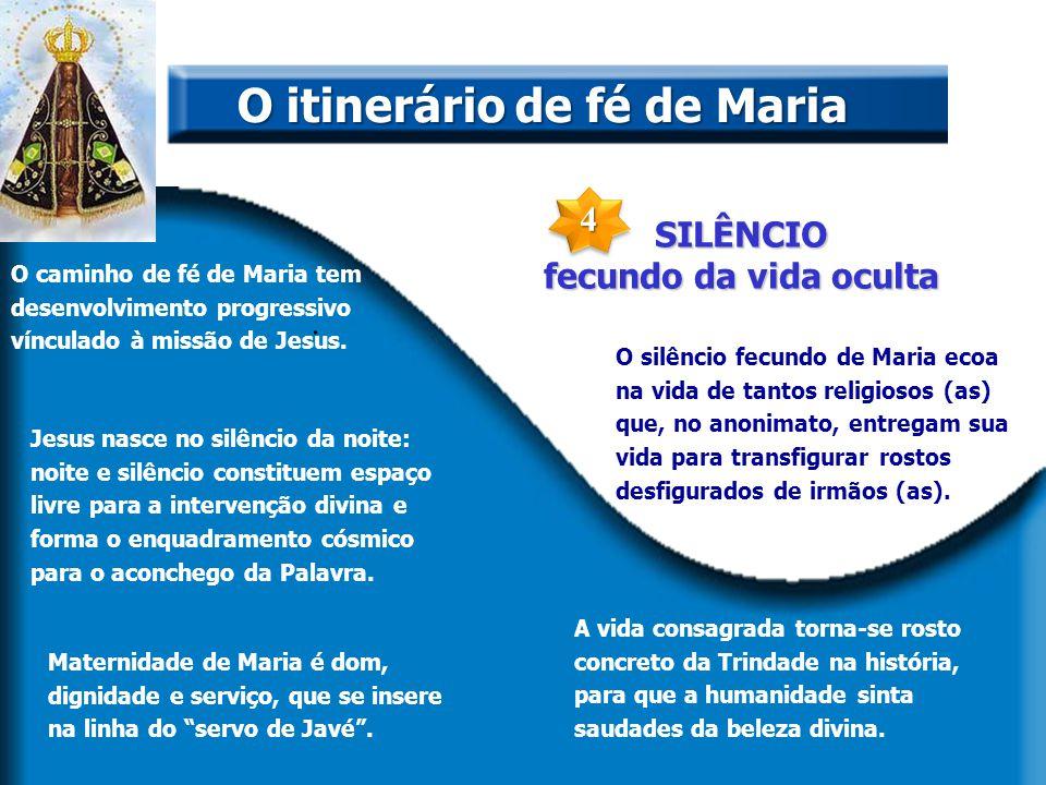 SILÊNCIO fecundo da vida oculta. O itinerário de fé de Maria O caminho de fé de Maria tem desenvolvimento progressivo vínculado à missão de Jesus. Jes