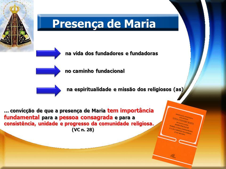 na vida dos fundadores e fundadoras Presença de Maria no caminho fundacional na espiritualidade e missão dos religiosos (as)... convicção de que a pre