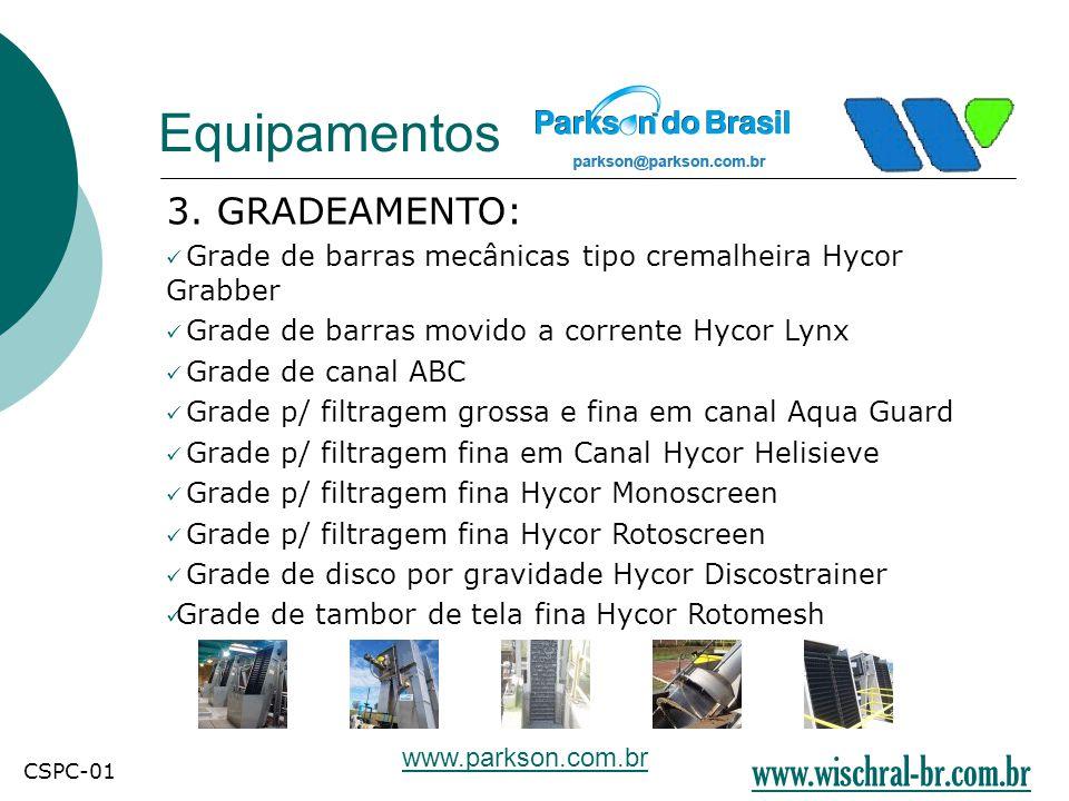 Equipamentos 3. GRADEAMENTO:  Grade de barras mecânicas tipo cremalheira Hycor Grabber  Grade de barras movido a corrente Hycor Lynx  Grade de cana