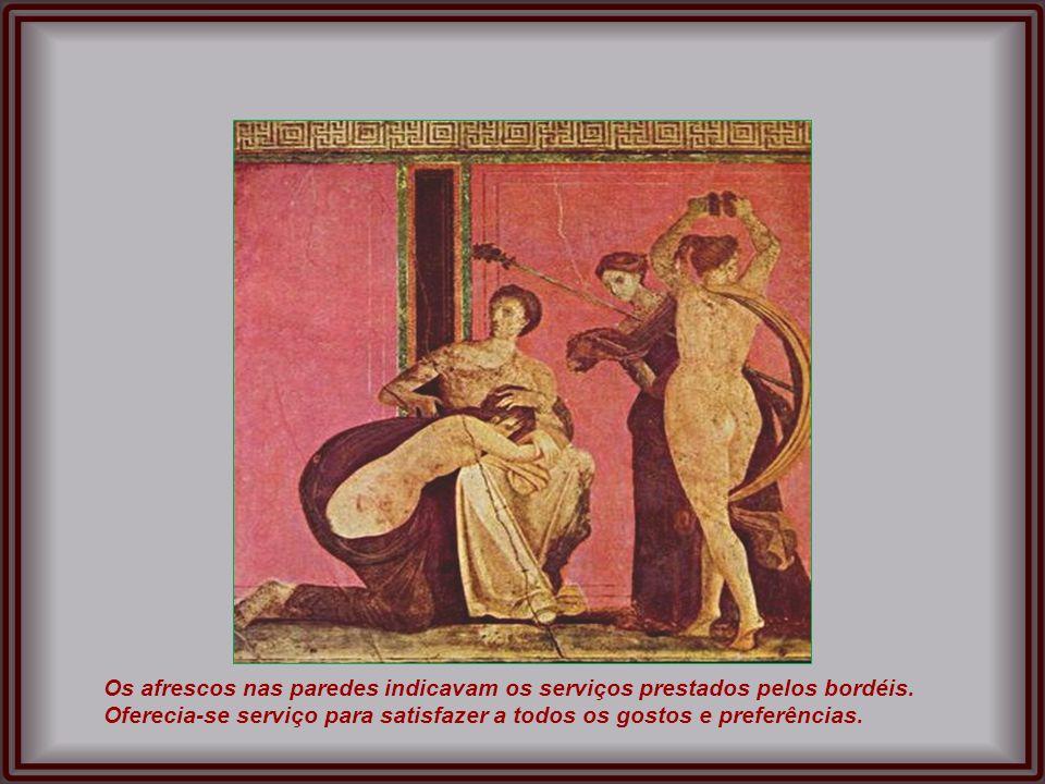 Afresco mostrando a deusa Vênus na fachada de um dos bordéis de Pompeia Sala para banho