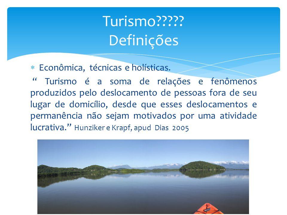 """ Econômica, técnicas e holísticas. """" Turismo é a soma de relações e fenômenos produzidos pelo deslocamento de pessoas fora de seu lugar de domicílio,"""