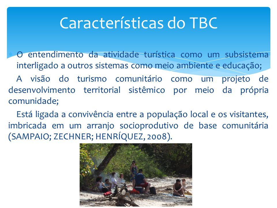  O entendimento da atividade turística como um subsistema interligado a outros sistemas como meio ambiente e educação; A visão do turismo comunitário