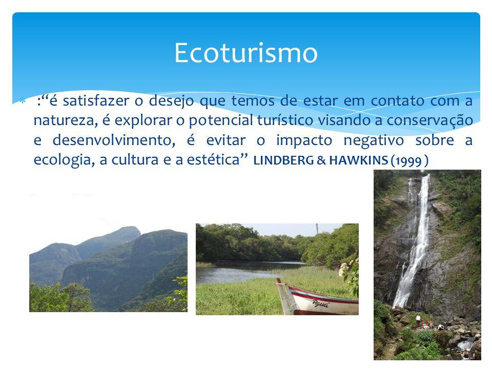 """ :""""é satisfazer o desejo que temos de estar em contato com a natureza, é explorar o potencial turístico visando a conservação e desenvolvimento, é ev"""