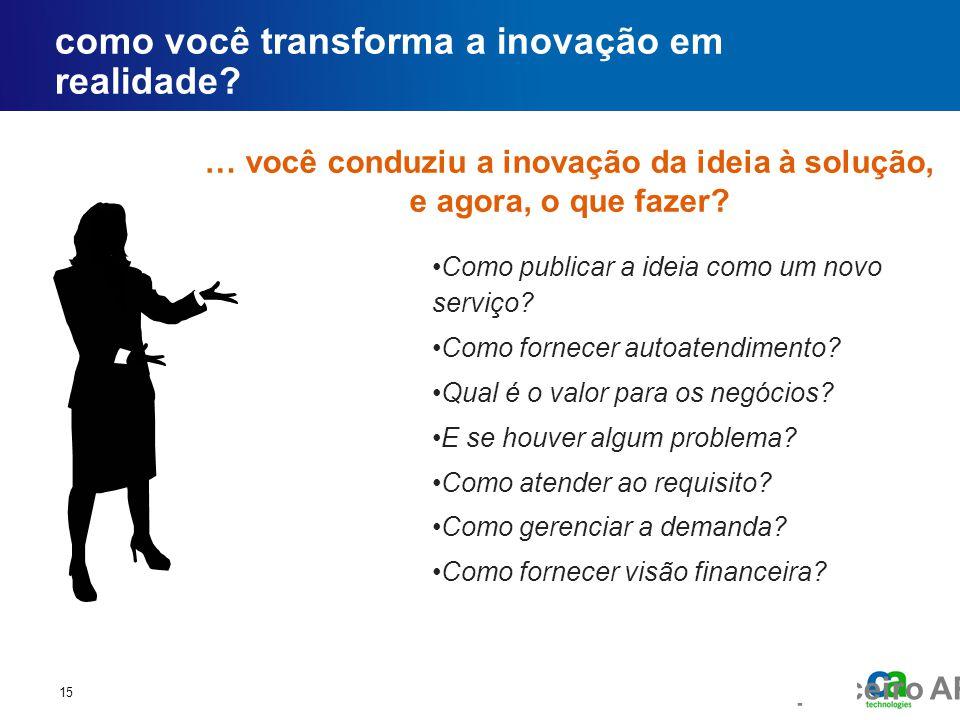 Fórum executivo do parceiro AP como você transforma a inovação em realidade? 15 … você conduziu a inovação da ideia à solução, e agora, o que fazer? •