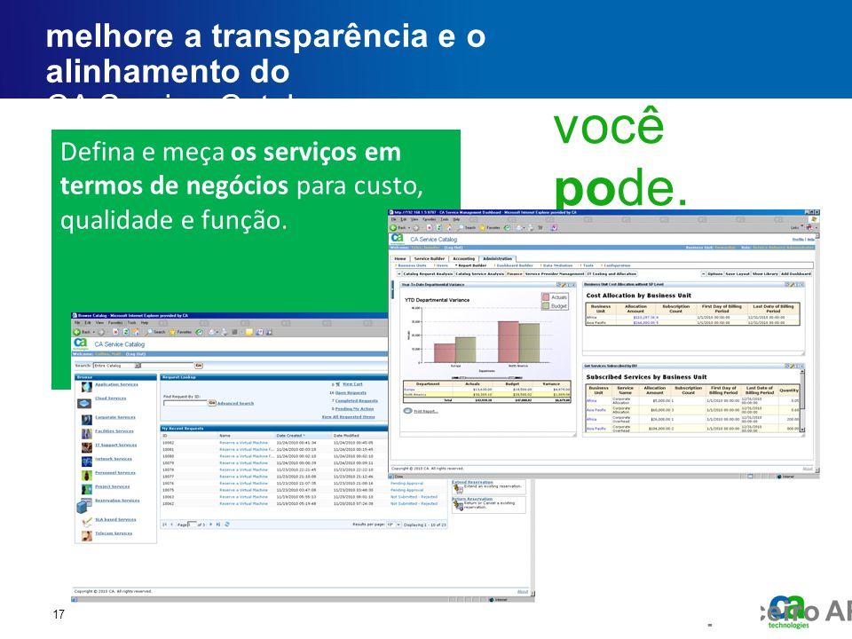 Fórum executivo do parceiro AP melhore a transparência e o alinhamento do CA Service Catalog 17 Defina e meça os serviços em termos de negócios para c