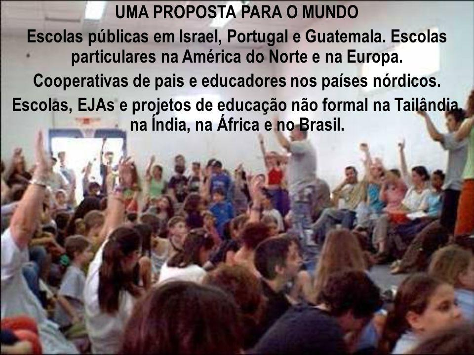 UMA PROPOSTA PARA O MUNDO Escolas públicas em Israel, Portugal e Guatemala. Escolas particulares na América do Norte e na Europa. Cooperativas de pais