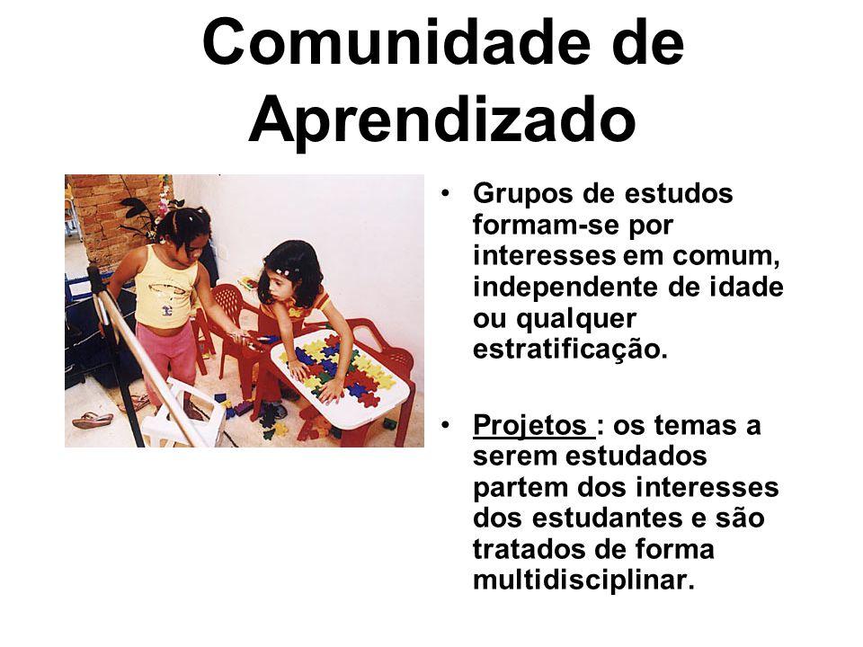 Comunidade de Aprendizado •Grupos de estudos formam-se por interesses em comum, independente de idade ou qualquer estratificação. •Projetos : os temas