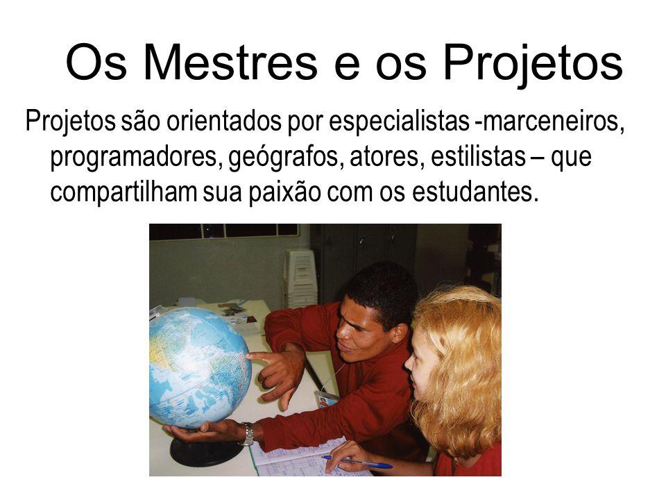 Os Mestres e os Projetos Projetos são orientados por especialistas -marceneiros, programadores, geógrafos, atores, estilistas – que compartilham sua p