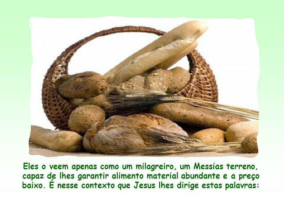 Eles o veem apenas como um milagreiro, um Messias terreno, capaz de lhes garantir alimento material abundante e a preço baixo.