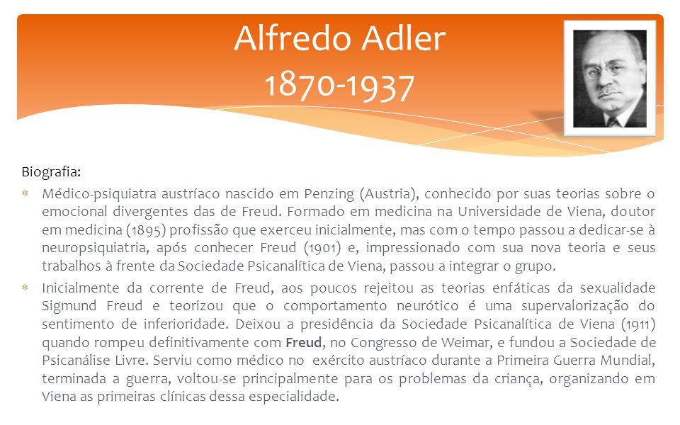Biografia:  Médico-psiquiatra austríaco nascido em Penzing (Austria), conhecido por suas teorias sobre o emocional divergentes das de Freud. Formado