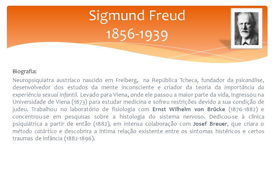 Biografia: Neuropsiquiatra austríaco nascido em Freiberg, na República Tcheca, fundador da psicanálise, desenvolvedor dos estudos da mente inconscient