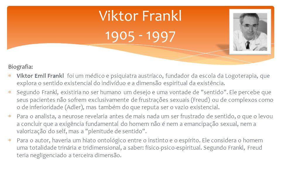 Biografia:  Viktor Emil Frankl foi um médico e psiquiatra austríaco, fundador da escola da Logoterapia, que explora o sentido existencial do indivíduo e a dimensão espiritual da existência.