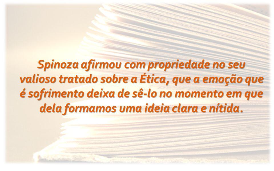 Spinoza afirmou com propriedade no seu valioso tratado sobre a Ética, que a emoção que é sofrimento deixa de sê-lo no momento em que dela formamos uma