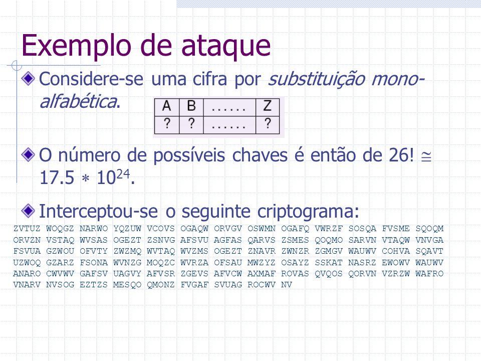 Exemplo de ataque Considere-se uma cifra por substituição mono- alfabética. O número de possíveis chaves é então de 26!  17.5  10 24. ZVTUZ WOQGZ NA