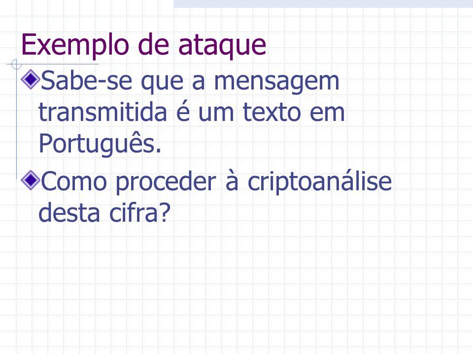 Exemplo de ataque Sabe-se que a mensagem transmitida é um texto em Português. Como proceder à criptoanálise desta cifra?