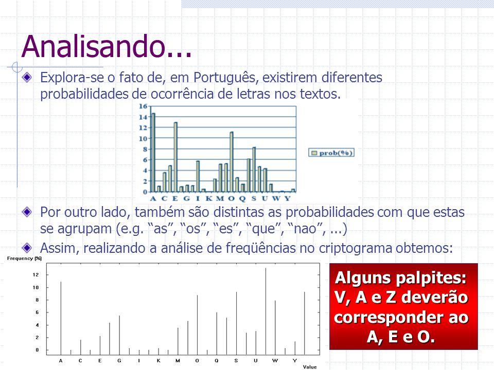 Analisando... Explora-se o fato de, em Português, existirem diferentes probabilidades de ocorrência de letras nos textos. Por outro lado, também são d