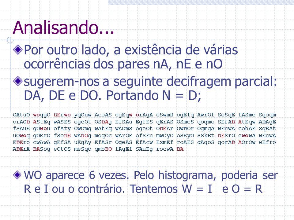Analisando... Por outro lado, a existência de várias ocorrências dos pares nA, nE e nO sugerem-nos a seguinte decifragem parcial: DA, DE e DO. Portand