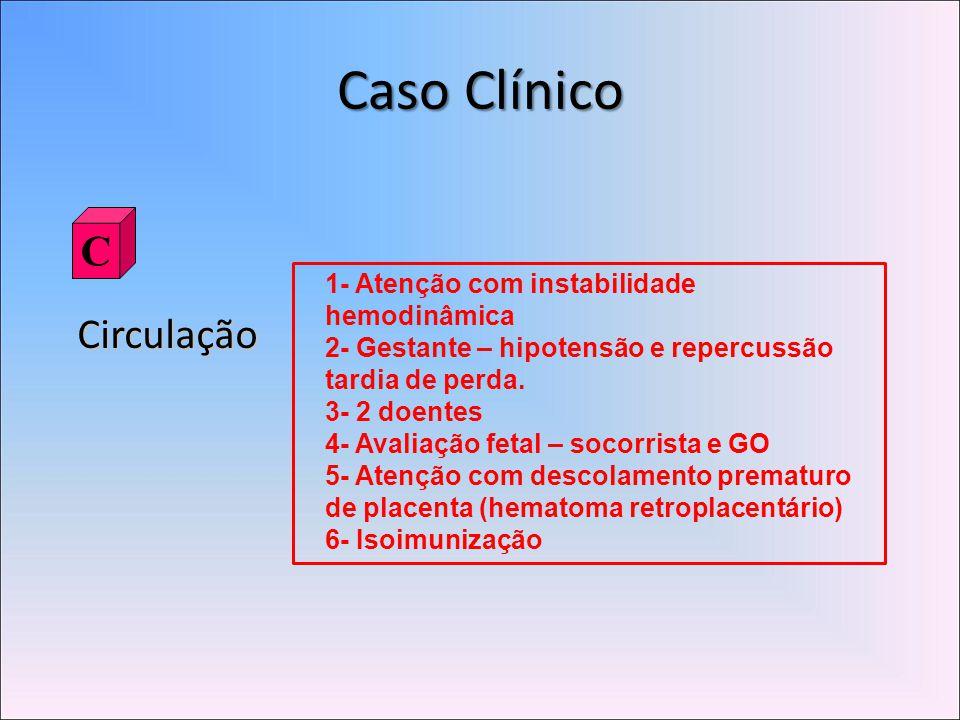 Caso Clínico Circulação C 1- Atenção com instabilidade hemodinâmica 2- Gestante – hipotensão e repercussão tardia de perda.