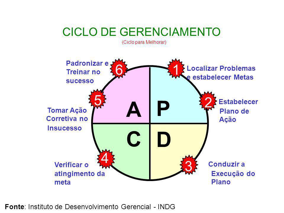PDCA A CICLO DE GERENCIAMENTO (Ciclo para Melhorar) C P D Conduzir a Execução do Plano Verificar o atingimento da meta Padronizar e Treinar no sucesso