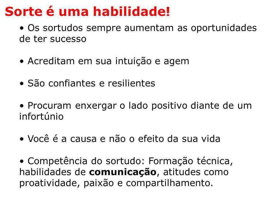 • Os sortudos sempre aumentam as oportunidades de ter sucesso • Acreditam em sua intuição e agem • São confiantes e resilientes • Procuram enxergar o