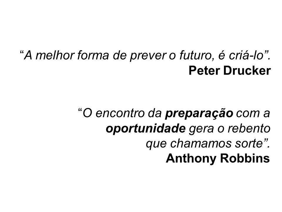 """""""A melhor forma de prever o futuro, é criá-lo"""". Peter Drucker Para refletir """"O encontro da preparação com a oportunidade gera o rebento que chamamos s"""