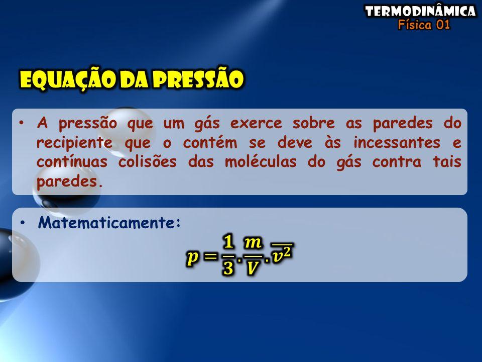 • A pressão que um gás exerce sobre as paredes do recipiente que o contém se deve às incessantes e contínuas colisões das moléculas do gás contra tais