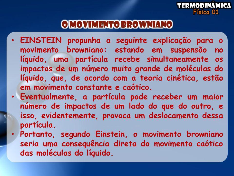 • EINSTEIN propunha a seguinte explicação para o movimento browniano: estando em suspensão no líquido, uma partícula recebe simultaneamente os impacto