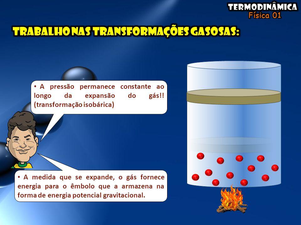 • A pressão permanece constante ao longo da expansão do gás!! (transformação isobárica) • A medida que se expande, o gás fornece energia para o êmbolo
