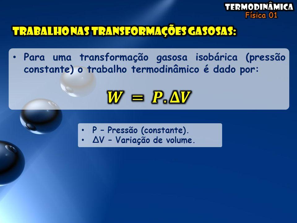 • P – Pressão (constante). • ΔV – Variação de volume.
