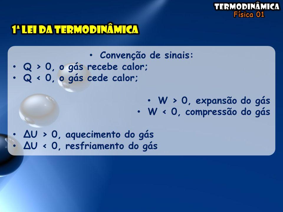 • Convenção de sinais: • Q > 0, o gás recebe calor; • Q < 0, o gás cede calor; • W > 0, expansão do gás • W < 0, compressão do gás • ΔU > 0, aquecimen