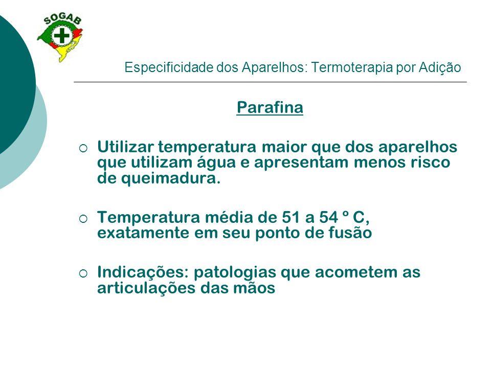 Especificidade dos Aparelhos: Termoterapia por Adição Parafina  Utilizar temperatura maior que dos aparelhos que utilizam água e apresentam menos ris