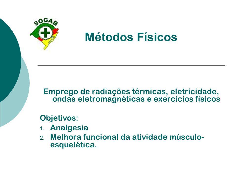 Métodos Físicos Emprego de radiações térmicas, eletricidade, ondas eletromagnéticas e exercícios físicos Objetivos: 1. Analgesia 2. Melhora funcional