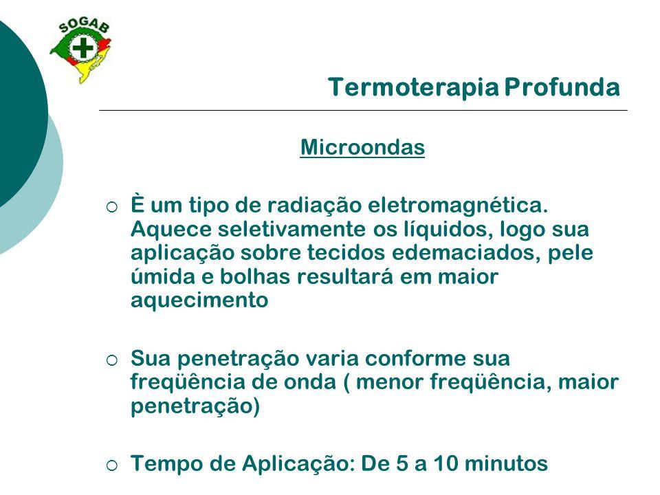 Termoterapia Profunda Microondas  È um tipo de radiação eletromagnética. Aquece seletivamente os líquidos, logo sua aplicação sobre tecidos edemaciad