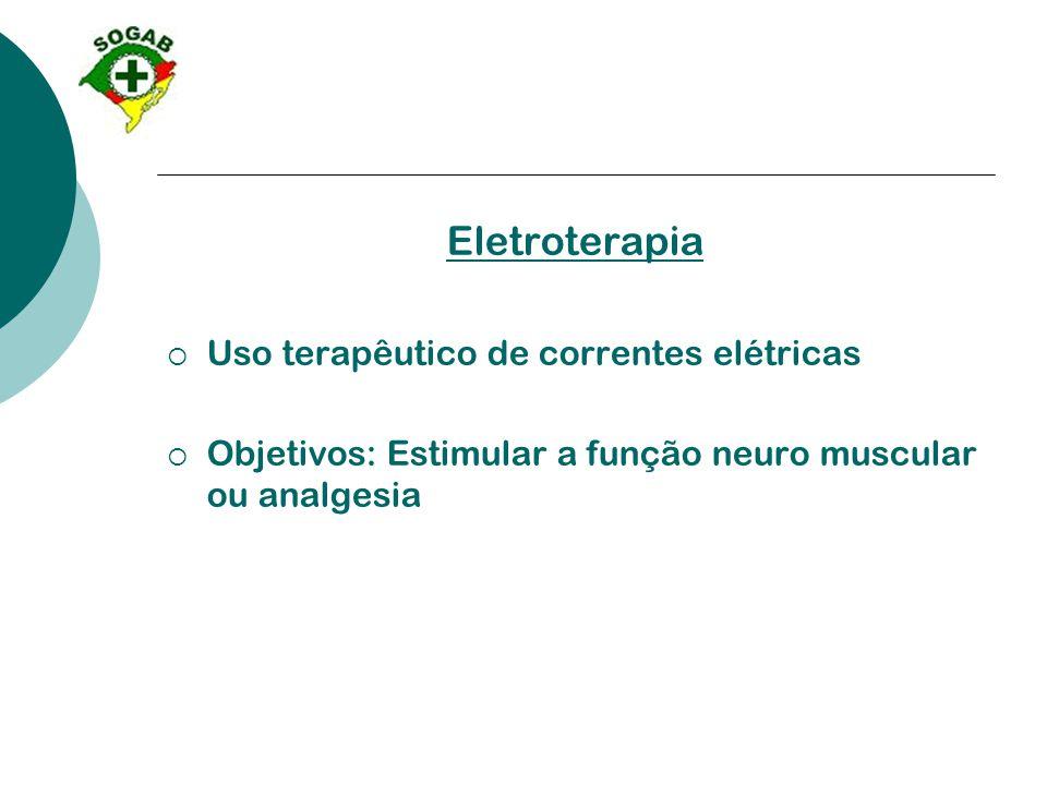 Eletroterapia  Uso terapêutico de correntes elétricas  Objetivos: Estimular a função neuro muscular ou analgesia