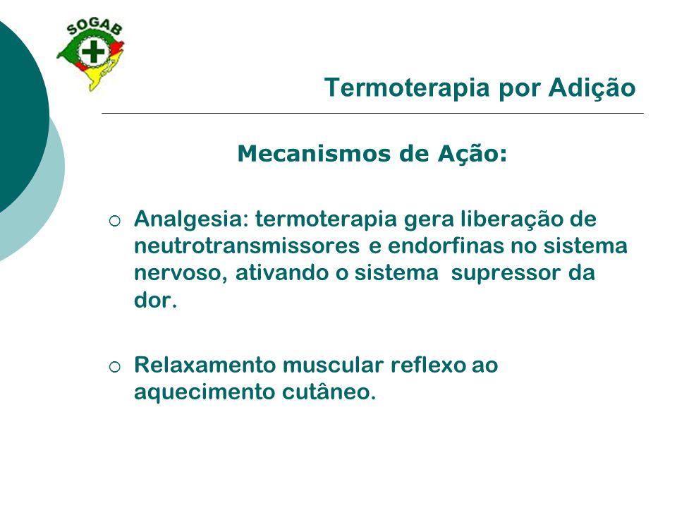 Termoterapia por Adição Mecanismos de Ação:  Analgesia: termoterapia gera liberação de neutrotransmissores e endorfinas no sistema nervoso, ativando
