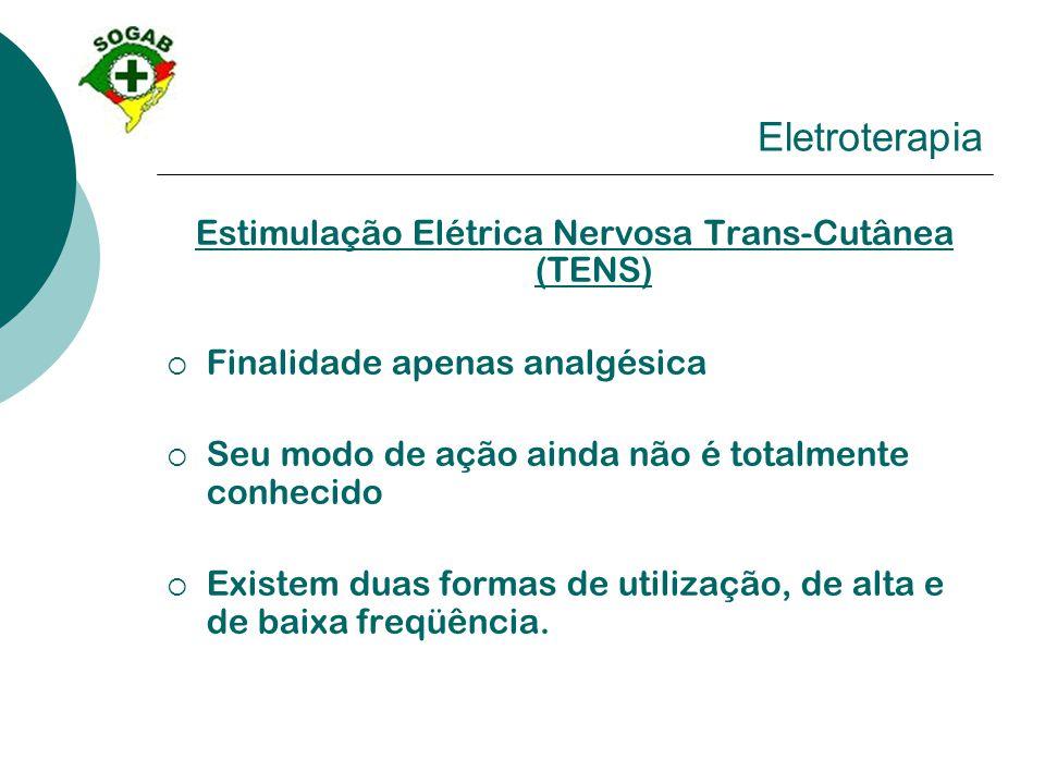 Eletroterapia Estimulação Elétrica Nervosa Trans-Cutânea (TENS)  Finalidade apenas analgésica  Seu modo de ação ainda não é totalmente conhecido  E