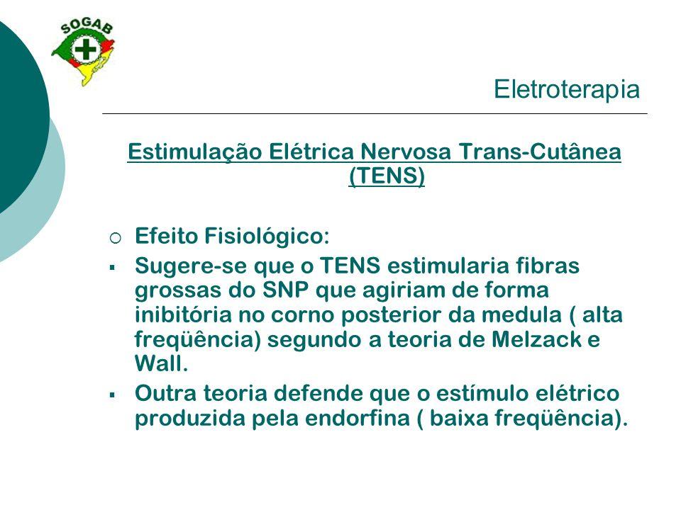 Eletroterapia Estimulação Elétrica Nervosa Trans-Cutânea (TENS)  Efeito Fisiológico:  Sugere-se que o TENS estimularia fibras grossas do SNP que agi