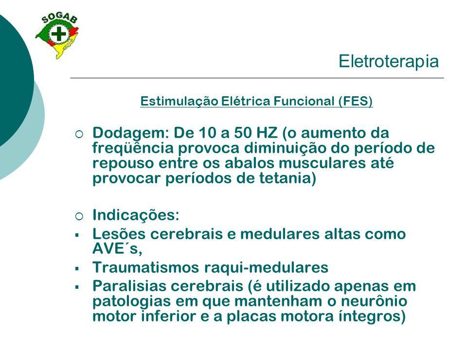 Eletroterapia Estimulação Elétrica Funcional (FES)  Dodagem: De 10 a 50 HZ (o aumento da freqüência provoca diminuição do período de repouso entre os