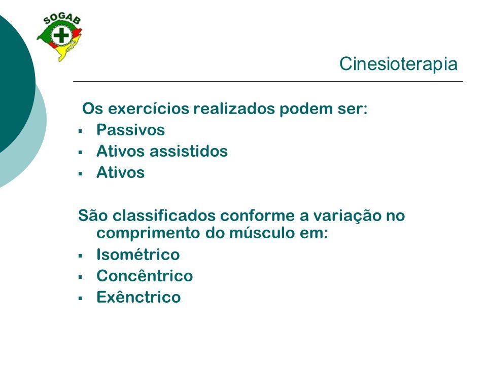 Cinesioterapia Os exercícios realizados podem ser:  Passivos  Ativos assistidos  Ativos São classificados conforme a variação no comprimento do mús