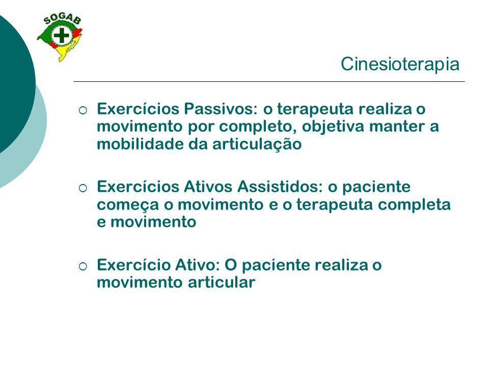 Cinesioterapia  Exercícios Passivos: o terapeuta realiza o movimento por completo, objetiva manter a mobilidade da articulação  Exercícios Ativos As