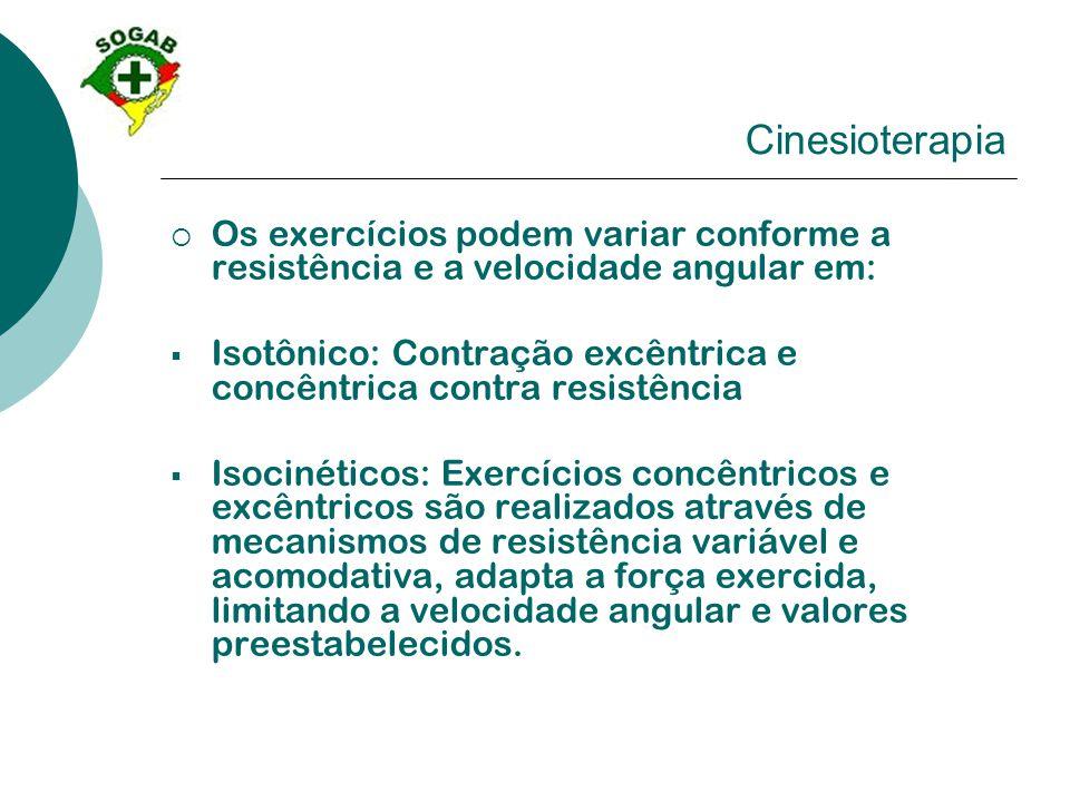 Cinesioterapia  Os exercícios podem variar conforme a resistência e a velocidade angular em:  Isotônico: Contração excêntrica e concêntrica contra r