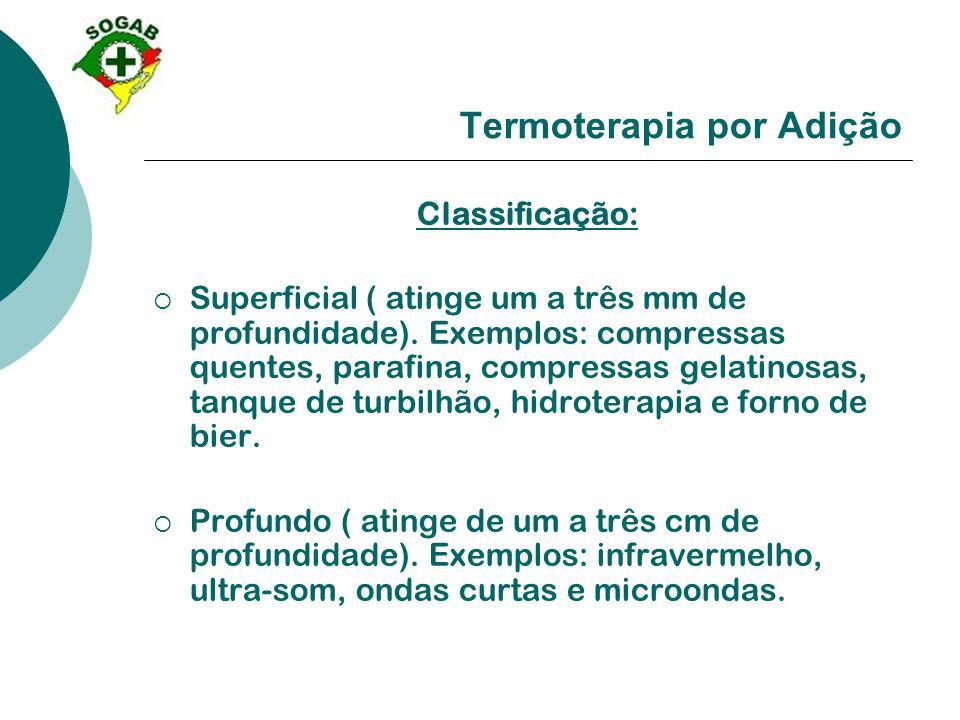 Termoterapia por Adição Classificação:  Superficial ( atinge um a três mm de profundidade). Exemplos: compressas quentes, parafina, compressas gelati