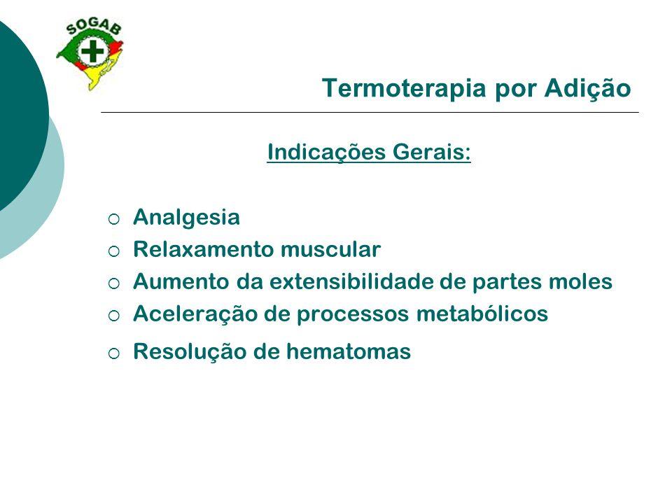 Termoterapia por Adição Indicações Gerais:  Analgesia  Relaxamento muscular  Aumento da extensibilidade de partes moles  Aceleração de processos m