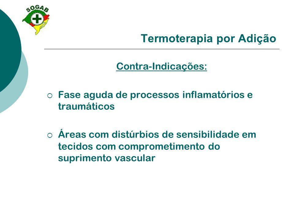 Termoterapia por Adição Contra-Indicações:  Fase aguda de processos inflamatórios e traumáticos  Áreas com distúrbios de sensibilidade em tecidos co