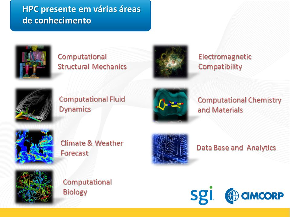 STORAGE Blade Cluster Internet WORKSTATIONS THIN CLIENTS Remote Clients CLUSTER Computing Nodes VISUALIZATION Visualization Tools Utility Computing Via Private/Public Cloud Internet WORKSTATIONS Local Clients HPC CLUSTER Visão Geral da Arquitetura users THIN CLIENTS Local Clients