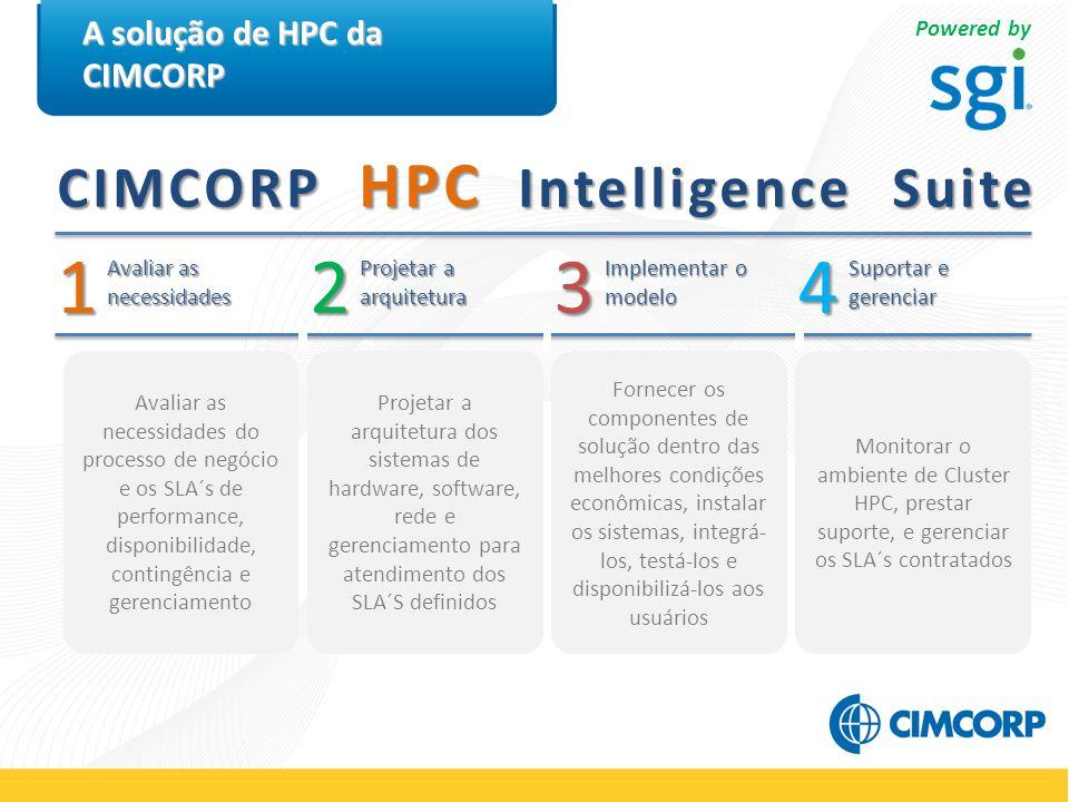 A solução de HPC da CIMCORP 2 Avaliar as necessidades 3 Implementar o modelo 4 Suportar e gerenciar 1 Projetar a arquitetura Projetar a arquitetura dos sistemas de hardware, software, rede e gerenciamento para atendimento dos SLA´S definidos Fornecer os componentes de solução dentro das melhores condições econômicas, instalar os sistemas, integrá- los, testá-los e disponibilizá-los aos usuários Monitorar o ambiente de Cluster HPC, prestar suporte, e gerenciar os SLA´s contratados Avaliar as necessidades do processo de negócio e os SLA´s de performance, disponibilidade, contingência e gerenciamento CIMCORP HPC Intelligence Suite Powered by