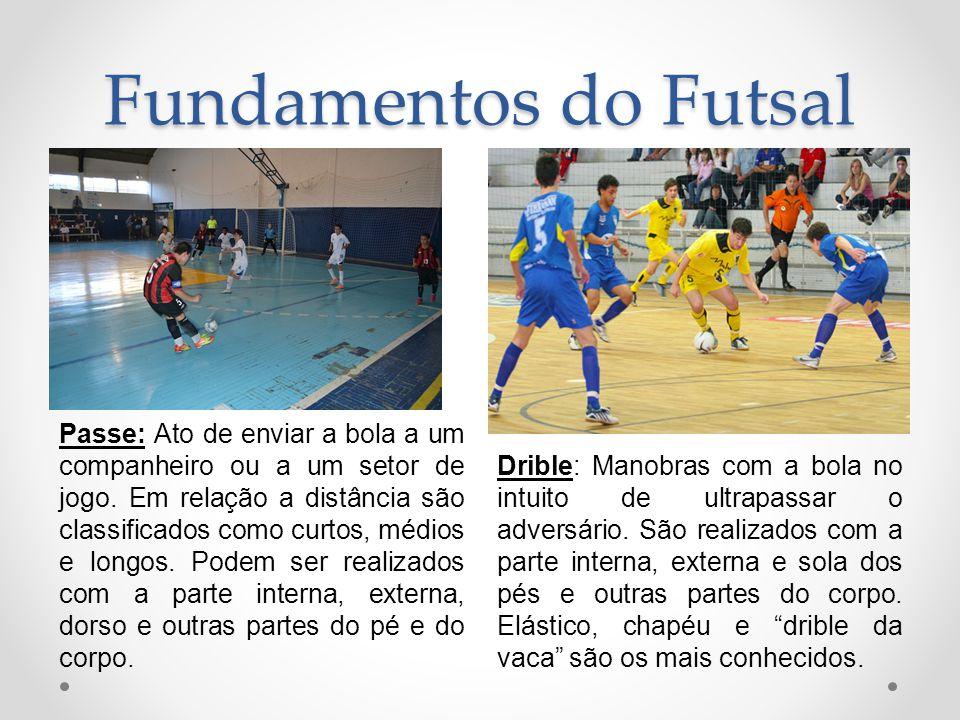 Fundamentos do Futsal Passe: Ato de enviar a bola a um companheiro ou a um setor de jogo. Em relação a distância são classificados como curtos, médios