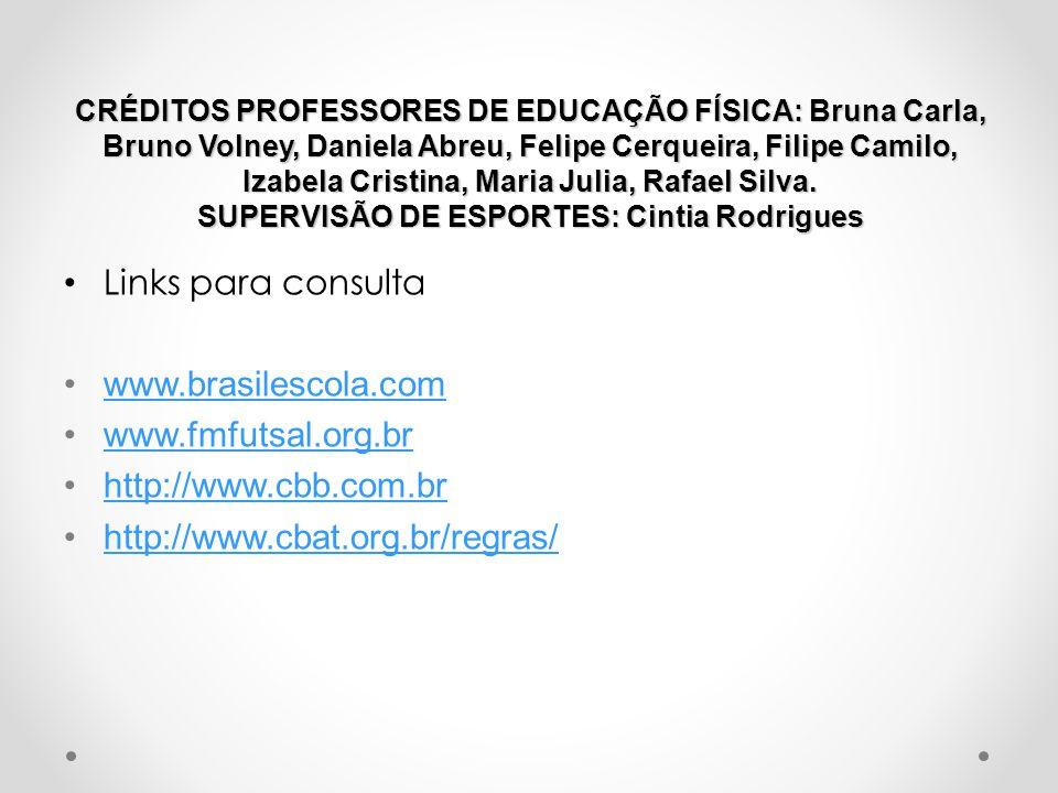 CRÉDITOS PROFESSORES DE EDUCAÇÃO FÍSICA: Bruna Carla, Bruno Volney, Daniela Abreu, Felipe Cerqueira, Filipe Camilo, Izabela Cristina, Maria Julia, Raf