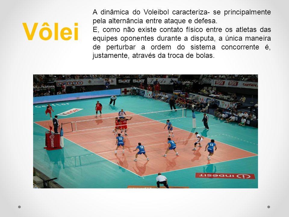 Vôlei A dinâmica do Voleibol caracteriza- se principalmente pela alternância entre ataque e defesa. E, como não existe contato físico entre os atletas