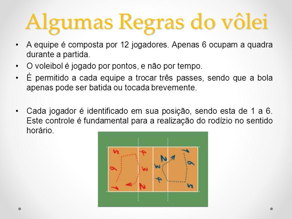Algumas Regras do vôlei •A equipe é composta por 12 jogadores. Apenas 6 ocupam a quadra durante a partida. •O voleibol é jogado por pontos, e não por
